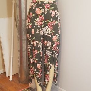 High waisted Floral split pants